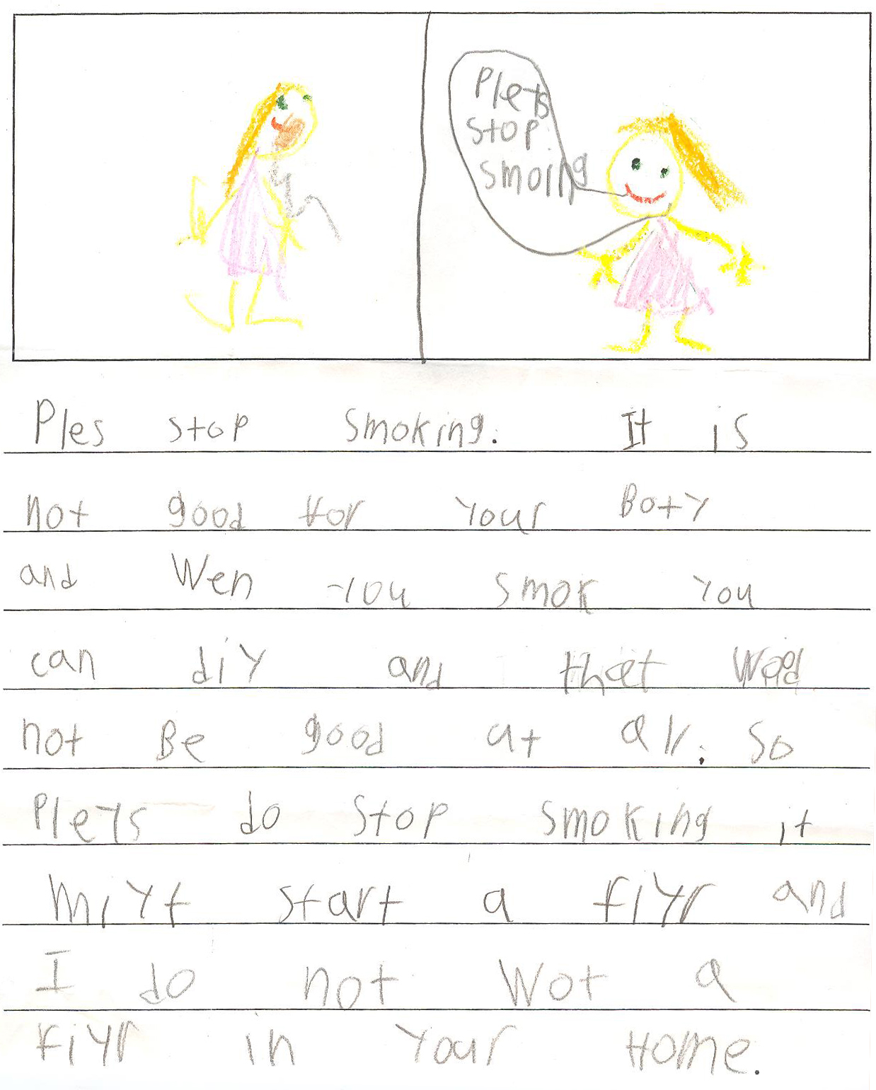 Elementary student encourages people to quit smoking